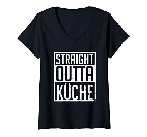 Damen Straight Outta Küche | Arbeitskleidung Lustiges Gastro Koch T-Shirt mit V-Ausschnitt