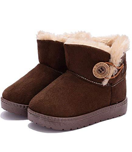 KVbabby Kinder Winterstiefel Wärme Gefütterte Schneestiefel Mädchen Winterschuhe Winter Boots Baby rutschfest Stiefel Kleinkindschuhe Weichsohlen,Kaffee,EU30/ Hersteller 31