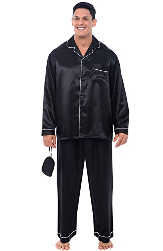 Alexander Del Rossa Men's Button Down Satin Pajama Set with Sleep Mask, Long Silky Pjs, XL Black with White Piping (A0752BKWXL)