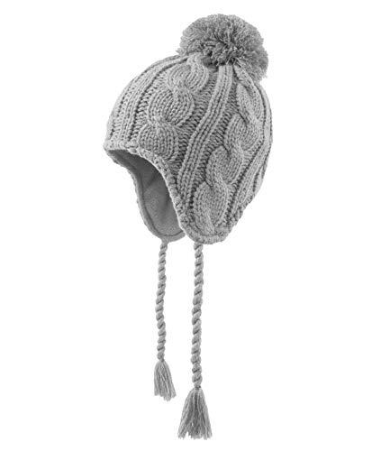 Döll Mädchen Inka Strickmütze Bommel, Größe:49, Präzise Farbe:Grau