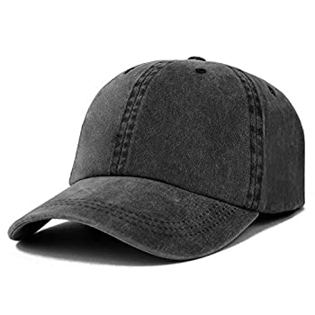 Trendy Apparel Shop Oversize XXL Pigment Dyed Washed Cotton Baseball Cap - Black - 2XL