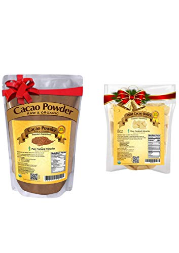 Cacao Powder 1 lb and Cacao Butter 8 oz   Raw, Organic, Unsweetened   Keto Baking