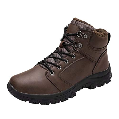 Botas de Nieve Hombre Impermeable Botas de Nieve Cálido Fur Forro Sneakers Zapatos Invierno Marrón 42