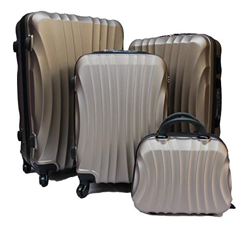 R.Leone Valigia da 1 Fino a Set 4 Trolley Rigido grande, medio, bagaglio a mano e beauty case 4 ruote in ABS 2037 (Oro, Set 3 S M L)
