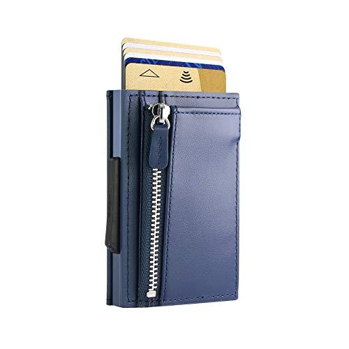 Ögon Smart Wallets - Cascade Slim für Münzen, Automatischer Kartenetui, Popup-Karten, 8 Karten und Banknoten, RFID-Blockierung (Leder Navy Blue Aluminium Navy Blue)