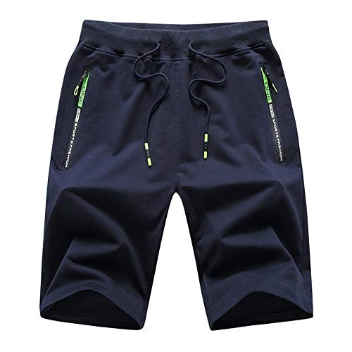 Swibitter Men's Casual Cotton Summer Shorts with Zipper Pocket Gym Shorts for Running, Jogging, Training
