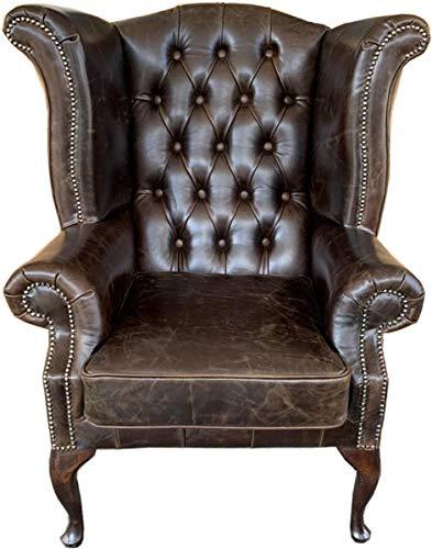 Casa Padrino Echtleder Sessel Vintage Braun - Luxus Wohnzimmer Ohrensessel Möbel