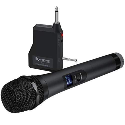 Fifine draadloze microfoon, dynamische handmicrofoon, handzaam draadloos microfoonsysteem voor bijvoorbeeld karaoke-avond, op feestjes, evenementen, bij moderne, PA-systeem, luidspreker-K025