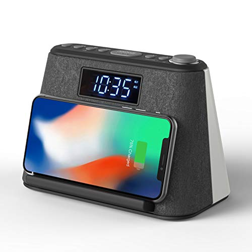 Radiowecker Digital mit Wireless Charger, Bluetooth Lautsprecher, Nachtlicht, Dimmbares LED-Display und White Noise | Wecker mit Ladestation | Induktive Ladestation | Digitaler Wecker | Radio Wecker
