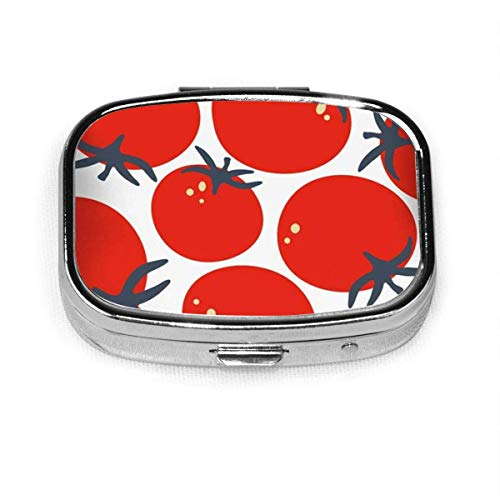 Pill Box - Customized Fresh Tomatoes Hand Drawn Abstract Food and Drink Pill Boxes, Portable Rectangular Metal Silver Pills Case, Compact 2 Space, Pill Cases for Travel/Pocket/Purse
