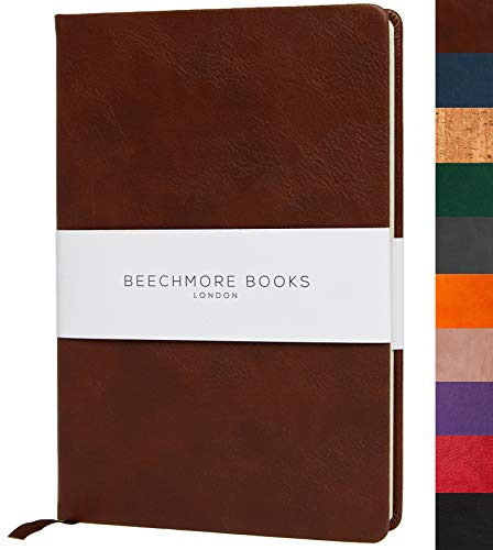"Ruled Notebook - British A5 Journal by Beechmore Books | Large 5.75"" x 8.25"" Hardcover Vegan Leather, Thick 120gsm Cream Lined Paper 