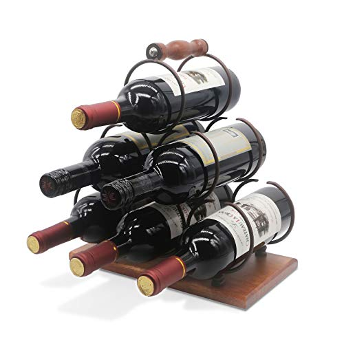 Tabletop Wood Wine Holder for 6 Bottles Rustic Wood Countertop Wine Rack 3-Tier Classic Design Sturdy Handle Simple Assembly Wood Metal Copper