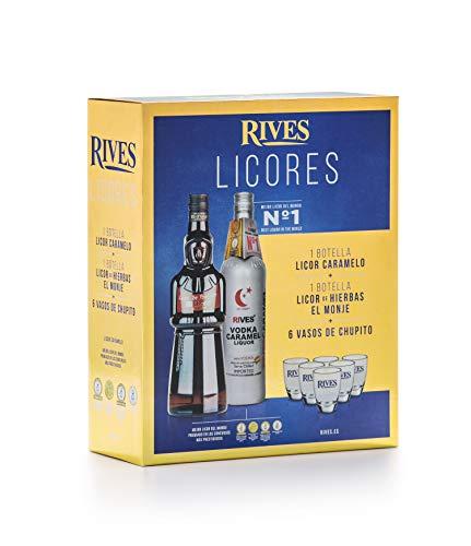 Licor hierbas El Monje y Liquor Love Caramel Premium con chupitos - 700 ml