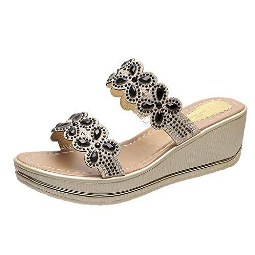 UOWEG Wedges Sandalen für Damen Böhmen Crystal Wedges Thick Peep Toe atmungsaktive Sandalen Hausschuhe Schuhe