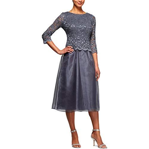 Alex Evenings Damen Tea Length Sequin Mock Dress (Petite and Regular) Kleid fr besondere Anlsse, Blue Smoke, 46