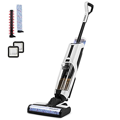 Wet Dry Vacuum, AlfaBot T36 Cordless Floor Vacuum Cleaner and Mop for Hardwood Floor & Area Rugs, Lightweight Wet-Dry Floor Cleaner with Self Cleaning, One-Step Cleaning/Voice Assistance