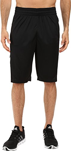 adidas Men's Basketball Team Speed Pregame Shorts, Black/Dark Solid Grey/White, XX-Large