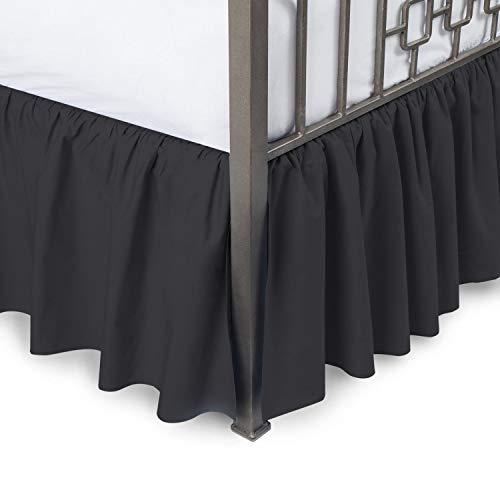 Falda de cama – falda de cama con volantes con esquinas divididas, doble, caída de 38 cm, envoltura negra con plataforma de cobertura de tres caras, falda de cama con volantes, 100% algodón, 800 hilos