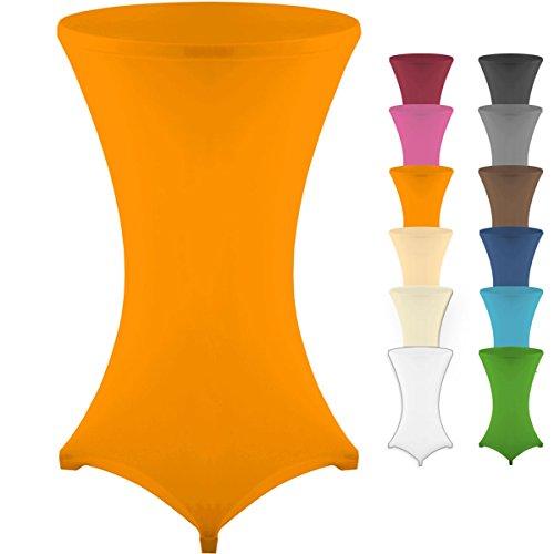 Gräfenstayn Stretch Stehtischhusse Diana mit Öko-Tex Siegel, Verstärkung im Fußbereich, 40°C Maschinenwäsche in vielen Farben und Größen Ø60-120cm / Ø70-120cm / Ø80-120cm (Orange, Ø60-120cm)