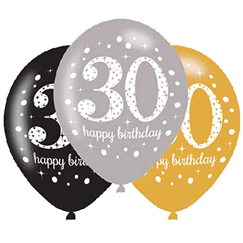 Amscan 9900738 - Latexballons 30 Happy Birthday, 6 Stück, Luftballons, Geburtstag, Dekoration