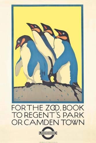Parco Zoo di metropolitana di Londra Regent Vintage. Opere d' Arte su Carta lucida spessa di ottima qualità 250gsm A3 42cm x 27cm