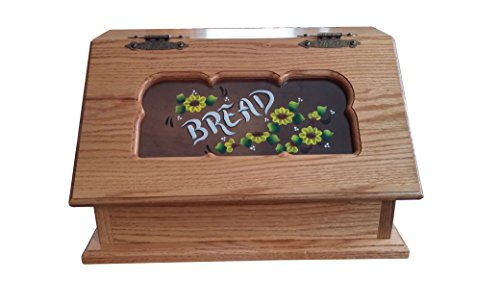 Amish Made Solid Oak Bread Box Floral Sunflower Design
