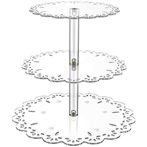 Queta Etagere 3 Etagen Transparent Cupcake Ständer Tortenständer Kuchenständer für Cupcake Kuchen Dessert Obst Party Hochzeit Buffet