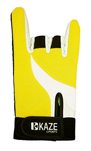 Kaze Sports Premium Bowling Glove (Yellow, Large)