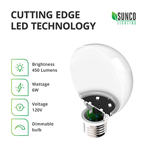 Sunco Lighting 10 Pack G25 LED Globe, 6W=40W, Dimmable, 450 LM, 5000K Daylight, E26 Base, Ideal for Bathroom Vanity or Mirror - UL & Energy Star