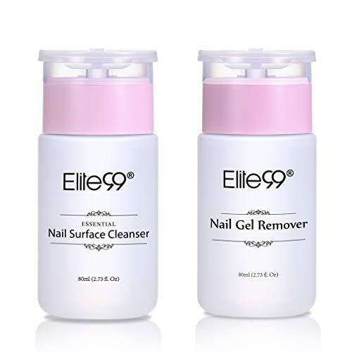 Elite99 nagellakremover & ontvetter, nagelreiniger en remover voor gellak nagellak UV LED, schonere nagels en remover voor Elite99 gellak, 2 pompflacon 80ml