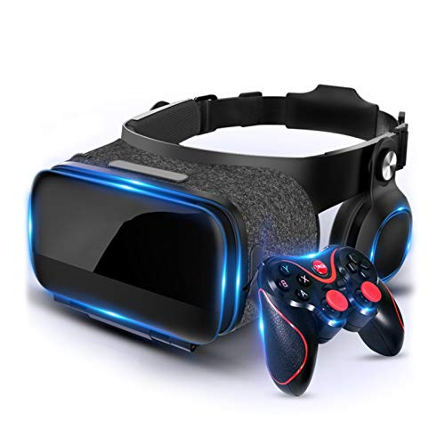 Soft & Comfortable New 3D VR Glasses VR Headset Virtual Reality Headsets VR Goggles Glasses HD Lens for 3D VR Movies Video Games for IPhone 12/11/X/8/7/6 for Samsung S10/S9/Note10/9 Android Phones, 4.
