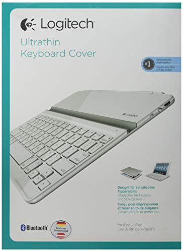 Logitech Ultrathin Magnetic Clip-On Keyboard Cover für iPad 4/ iPad 3/ iPad 2 (kabellose Bluetooth-Tastatur und Halterung, deutsches Tastaturlayout QWERTZ) weiß