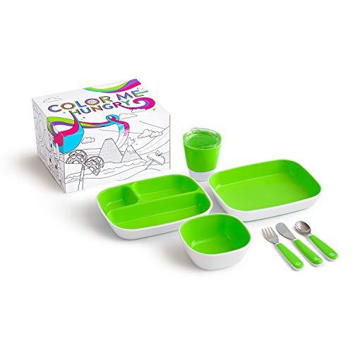 Munchkin Colour Me Hungry Esslern-Set In Ausmal-Geschenkbox, 7-Teilig, grün