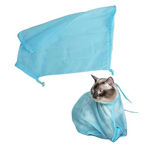 Bolsa de aseo para gatos Bolsa de malla de ducha de baño para cachorros y perros Poliéster transpirable ajustable Anti-mordida Anti-arañazos Bolsa de sujeción para gatos para recortar las uñas Examina