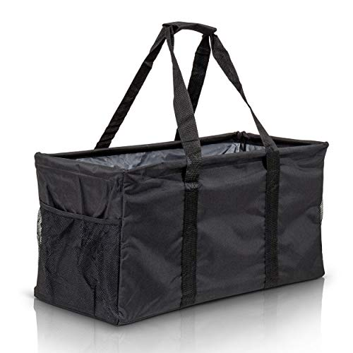 Extra Large Utility Tote Bag - Oversized Collapsible Reusable Wire Frame Rectangular Canvas Basket With Two Exterior Pockets For Beach, Pool, Laundry, Car Trunk, Storage - Black