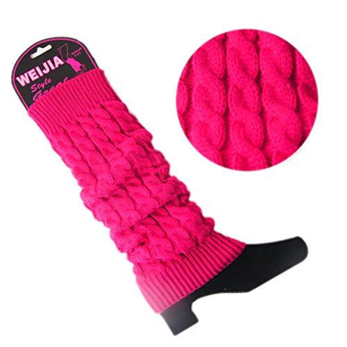 Ningb Calze al Ginocchio Donna Lady Knit Crochet Inverno Warmer Leggings Guanti Copriscarpa, Rosa Caldo