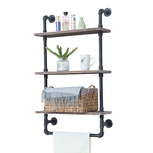 Industrial Bathroom Shelves Wall Mounted 3 Tiered,Rustic 24in Pipe Shelving Wood Shelf with Towel Bar,Farmhouse Towel Rack,Metal Floating Shelves Towel Holder,Iron Distressed Shelf Over Toilet