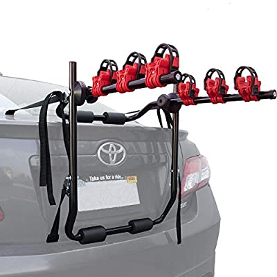 "Toolman Universal Rear 3-Bike Carrier Rack 40kg Maximum Load Capacity Hitch Mount Double Foldable Rack for Cars, Trucks, SUV's and Mini Vans with a 2"" Hitch Receiver QTH041"