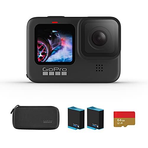 【国内正規品】GoPro HERO9 Black アクションカメラ ゴープロ 水中カメラ 人気アクションカム (GoPro HERO9Black +64GB認定SDカード+1720mAhバッテリー*2)