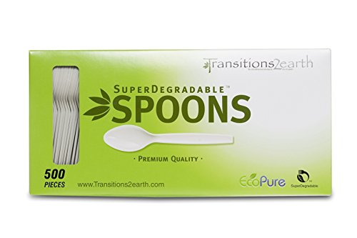 Transitions2earth Biodegradable EcoPure Spoons - Box of 500 - Plant a Tree with Each Item Purchased!
