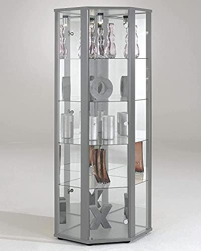 Luxury Space Corner LED Glass Display Cabinet- In Silver, White & Beech (Silver)