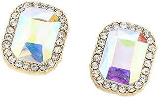 Prettyia Fashion Geometric Stud Earrings Crystal Ear Studs Women Charm Jewelry