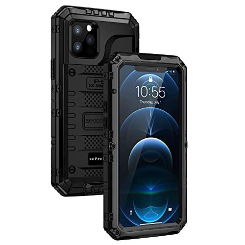 seacosmo Funda iPhone 12 Pro MAX, Antigolpes Armour de Metal Rugged con Protector de Pantalla de TPU, Antipolvo Completamente Sellado Funda para Impermeable IP68 iPhone 12 Pro MAX 6.7''- Negro