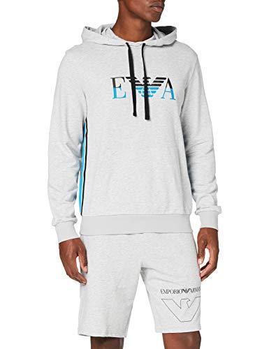 Emporio Armani Underwear Herren Homewear - Iconic Terry Sweater Sweatshirt, Grau (Grigio Melange 00048), Medium (Herstellergröße:M)
