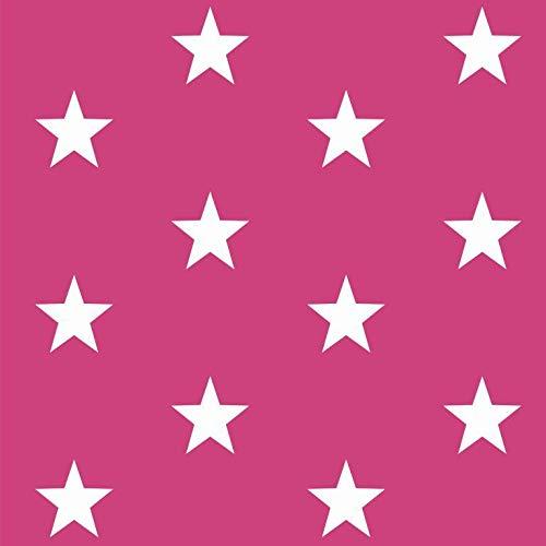 babrause® Baumwollstoff Sterne Pink Webware Meterware Popeline OEKOTEX 150cm breit - Ab 0,5 Meter