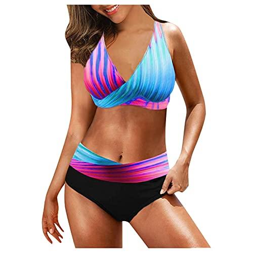 Bañador para mujer con estampado, bikini de verano con sujeción al cuello, parte superior de bikini de cintura alta, braguita de bikini profunda, cuello en V, deportiva, dos piezas (lila, XXL)