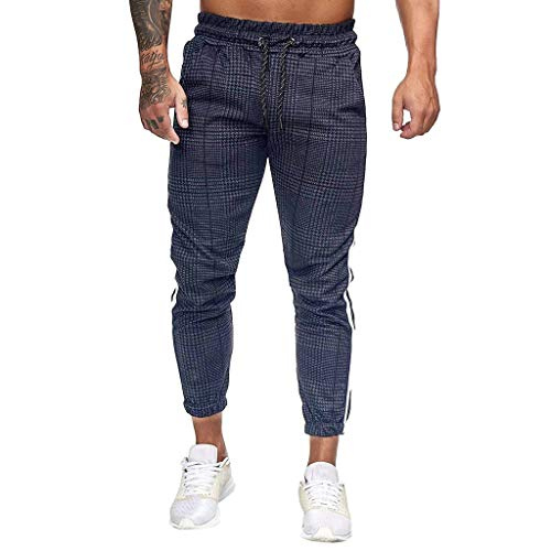 Vectry Pantalones Hombre Empalmes Monos A Rayas Casual Bolsillo Deporte Pantalones Trabajo de Pantalón Casual Pantalones Trabajo