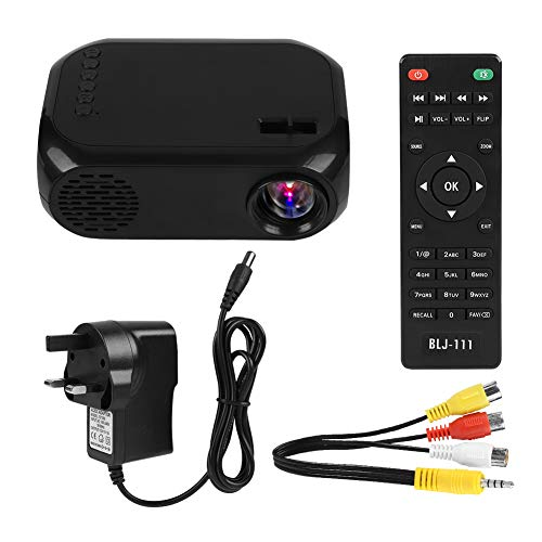Biuzi Mini proyector, 10-240V Multi-Funcional Mini 2 '' Proyector LED portátil para el hogar Tarjeta TF con DVD/Set-Top Bbox, Negro(Reino Unido)