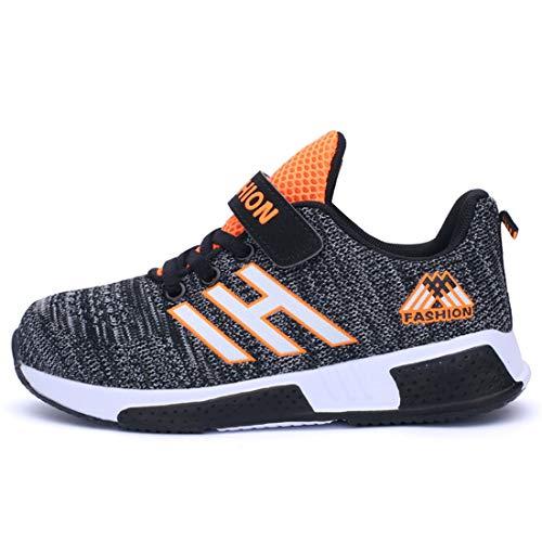 Powtech Jungen Mädchen Tennisschuhe Outdoor Sportschuhe Laufschuhe Sneaker (CN28, 861-Schwarz grau)