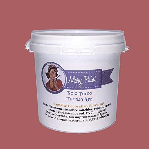 Mary Paint   Pintura para muebles efecto Chalk Paint, Rojo Turco - 750ml